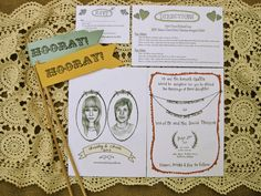 hand drawn invite/bunting