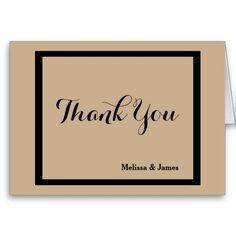 Wedding Thank You Notes, Black & Taupe, Personalized with Couple's Names