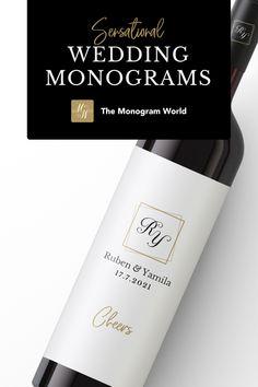 Wedding Monograms, Wedding Logos, Monogram Wedding, Custom Wine Labels, Free Typeface, Logo Templates, Luxury Wedding, Wedding Designs, Save The Date
