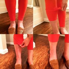 Put your favorite buttery soft leggings on and pull up the fabric from your shin (I like to have the hem pulled up to the top of my shin) then take the extra fabric and fold down over the hem, which smooths out the hem line, and voila! You have capris!