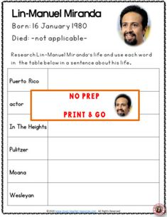 This resource is not your average word search! SUITABLE for Middle School music students. It has a research/written activity based on the words hidden the word search. Your students are not merely finding words in the word search - they are also learning about Lin-Manuel Miranda by researching what these words had to do with his music and life. No prep, just print and go! ♫ ♫ #musiceducation #mtr