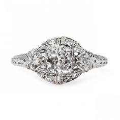 Classic Art Deco and Platinum Engagement Ring | Baron's Court