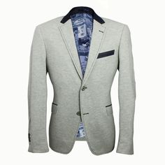 CL1029 #Grey  60% Cotton 40% polyster Basic Lapel collar Double #button front #Tailored fit Single back vent Welt pocket with flap #Denim #lining on the pockets and #collar #Contrast #stitching around the collar, front placket, button holes and pockets Four buttoned sleeve vent  #Blazer #Jacket #ClaudioLugli
