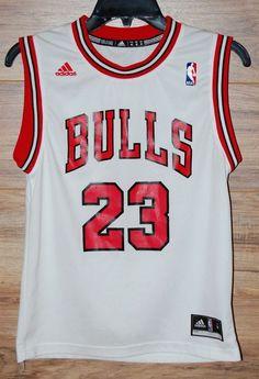 Michael Jordan Chicago Bulls Jersey Adidas White Red 23 Size Youth Medium #adidas #ChicagoBulls