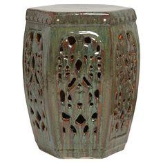 Hexagon Pierced Asian Braided Garden Stool- Antique Green Moss | Kathy Kuo Home