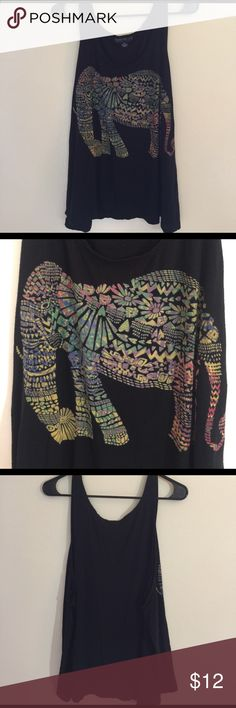 Forever 21 Plus Sizes Black Elephant Tank Top This cute free swinging black Sleeveless tank is in perfect never worn condition. It has a colorful artistic elephant on front. It is super soft and made of 95% Viscose and 5% Spandex for a perfect shape and fit. You will wear this all summer! Forever 21 Plus Sizes Tops Tank Tops