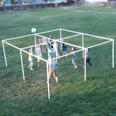 This is a crazy rendition of 4 square in the air. Use the same rules as 4 Square, or mix it up. Can be played with 4 players, 8 players or more!