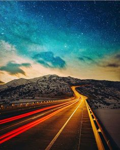 Star trail and Highway