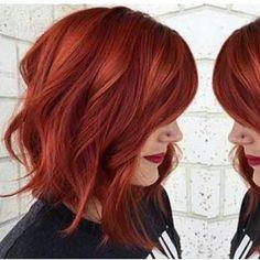 "738 Likes, 44 Comments - Iris Muziková (@short_haircuts) on Instagram: ""#redwaves #readhead #redhair #wavybob #wow #wowhair #womanlike #redlipstick"""