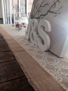 Burlap and lace table runner for a vintage rustic wedding