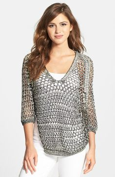 Nikki Rich Net V-Neck Sweater available at #Nordstrom