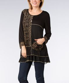 Look what I found on #zulily! Black & Camel Floral Pocket Tunic - Plus by Dalin #zulilyfinds