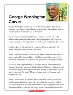 This fact-filled nonfiction article teaches kids about the life of George Washington Carver. Then, students complete a biographical graphic organizer. George Washington Carver, America Washington, Accelerated Reader, Lexile, Graphic Organizers, Guided Reading, Free Samples, Teaching Kids, Social Studies