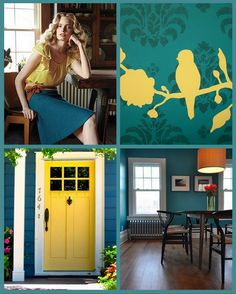 love those yellow birds, but I can't find where they came from!  I like them. Teal scrapbooking paper, painted yellow birds?