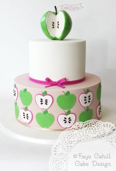 apple cake for a first birthday by Faye Cahill Cake Design