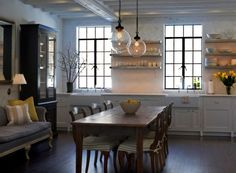 Love the lights, table, windows ... everything Sage Design Farmhouse Style Eat-in Kitchen | Remodelista