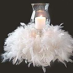 Any color could be used. I even have a boa that has multiple colors that could be used like this for fall ~ Google Image Result for http://4.bp.blogspot.com/-DlnYQKkH95Y/T7qVgxxtnAI/AAAAAAAAADE/q8dN0R1sFZ8/s1600/Diy%2BWedding%2BCandle%2BCenterpieces%2BPhotos.jpg