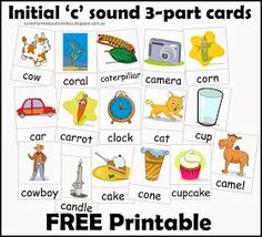 Suzie's Home Education Ideas: FREE Printable - Initial 'c' three part cards