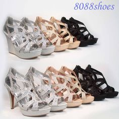 Women's Glitter Peep Toe Stiletto Heel Wedge Platform Bridal Sexy Shoes 5.5 - 10 #TopModa #PlatformsWedges