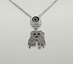 CZ sterling silver  Kissing Boy and Girl Charm by KurtArtJewelry