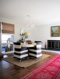 awesome striped chairs from terrain in the home of emily and andrew de stefano, image from design sponge