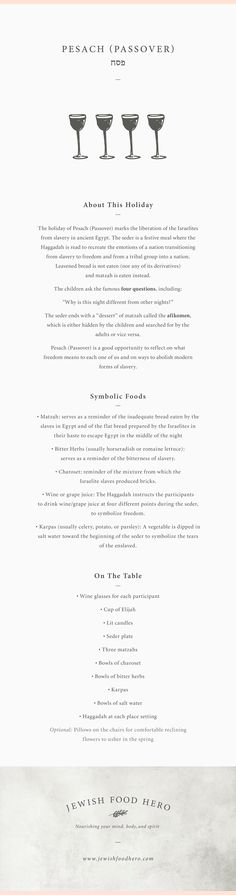 Here are the facts at a glance for Pesach (Passover), along with the related traditional and symbolic Jewish food and meal components.  Think of it as gathering the props to set the stage for a meaningful holiday event infused with your own creativity and personal touches. jewishfoodhero.com