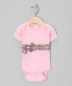 Take a look at this Pink Leopard Bow Bodysuit - Infant by Frilly Flair: Girls' Apparel on #zulily today!