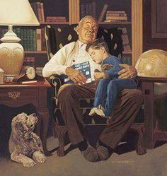"Brent Benger Handsigned and Numbered Limited Edition Canvas:""Bedtime Story"" - retro paintings Reading Art, Kids Reading, Creation Image, Norman Rockwell Art, Grands Parents, Grandchildren, Arte Pop, Bedtime Stories, I Love Books"