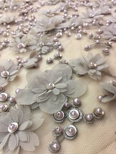 Luxury 3D gray lace fabric with light brown shade , hand made pearl beads 3D flowers, gray Embroidered lace, Wedding Lace, Bridal lace