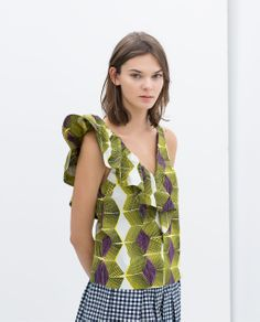Image 2 of PRINTED TOP WITH FRILL from Zara