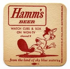 Now that's old school right there Retro Advertising, Vintage Advertisements, Vintage Ads, Chicago Illinois, Chicago Cubs, Black Art, Sous Bock, Wgn Tv, Hamms Beer