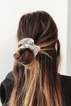 Accessorise your hairstyle with the Spot Scrunchie, featuring grey fabric with white polka dots throughout. Add on to your high bun or pony for super cute look! Braided Hairstyles Updo, Cute Hairstyles For Short Hair, Messy Hairstyles, Pretty Hairstyles, Short Hair Styles, Wedding Hairstyles, Scrunchy Hairstyles, Pink Hairstyles, Updo Hairstyle