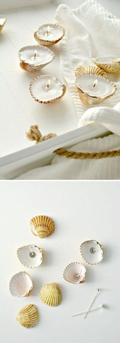 ▷ 1001 + ideas for amasing and simple DIY candles seashell candles, on a white tray, white towel, make your own candles Diy Candles Scented, Gel Candles, Homemade Candles, Mason Jar Candles, Soy Wax Candles, Candle Wax, Aromatherapy Candles, Candels, Velas Diy