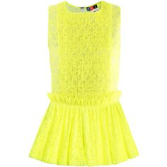 MSGM Neon pleated lace top ($306) ❤ liked on Polyvore