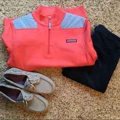 Vineyard Vines Shep Shirt Coral pink VV shep shirt with baby blue accents. In perfect condition; only worn once. An excellent piece for layering on fall days, or even as a light jacket in spring and summer. Gorgeous color contrast! Sperry shoes and jeans available upon request! Vineyard Vines Jackets & Coats