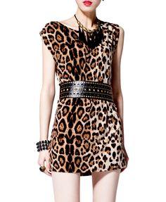Sleeveless Dress in Leopard Print