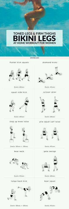 Build shapely legs and firm up your thighs with this bikini body leg workout for women! A set of 10 exercises to target your inner and outer thighs glutes hips hamstrings quads and calves and get your legs toned and ready for summer! Fitness Workouts, At Home Workouts, Workout Routines, Leg Workouts, Slim Legs Workout, Gym Routine, Week Workout, Workout Plans, Leg Workout Women