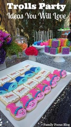 Trolls Birthday Party Ideas- from food to favors to decorations. I love the rainbow sparkle fun theme for kids parties!