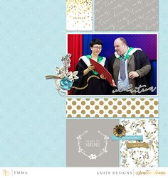 Graduation digital scrapbook page on Sahin Designs using Grad digital scrapbook collection. Click through to see more layouts like this or simply pin to save for a later time!