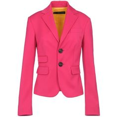 DSQUARED2 Blazer ($670) ❤ liked on Polyvore featuring outerwear, jackets, blazers, coats, pink blazer, lined jacket, pink blazer jacket, wool jacket and collar jacket