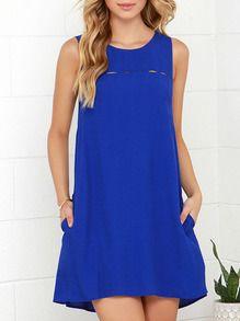 Blue Concert Sleeveless Pockets Casual Dress