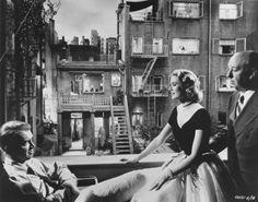 JImmy Stewart, Grace Kelly & Alfred Hitchcock on the set of Rear Window