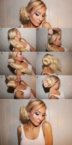How to Make a Chic Side Bun need to put it hair extentions to get thicker look..put them in upside down