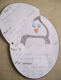 Fact and Opinon Penguin. Part of 20 Literacy Centers and Activities pack.
