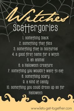Witches Scattergories from Let's Get Together