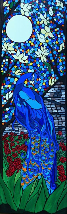 Peacock Garden 12x36 framed rady to hang and love art
