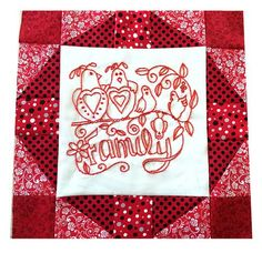 """Redwork embroidery is a simple technique, worked in a single shade of thread. It is the centerpiece for my new free quilt pattern series - Words to Live By. This pattern will be offered for free on my website Suzys Sitcom for the next 12 months! Fall Patterns, Quilt Block Patterns, Pattern Blocks, Quilt Blocks, Embroidery Letters, Types Of Embroidery, Embroidery Designs, Letter Symbols, Sewing Circles"