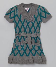 Love this Gray & Blue Diamond Ruffle Sweater Dress - Girls by Dollhouse on #zulily! #zulilyfinds