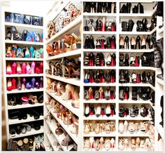 I NEED my guy to make me a closet like this! Jimmy Choo, Christian Louboutin, Valentino, Oh MY!!!