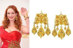 Emmy nominee Christina Hendricks (Mad Men) in Neil Lane 18k Carved Gold Girandole Earrings.